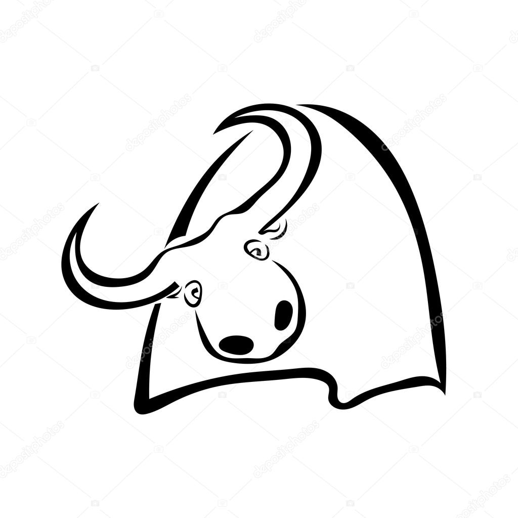 Single black silhouette of a cow on a white background. Vector i
