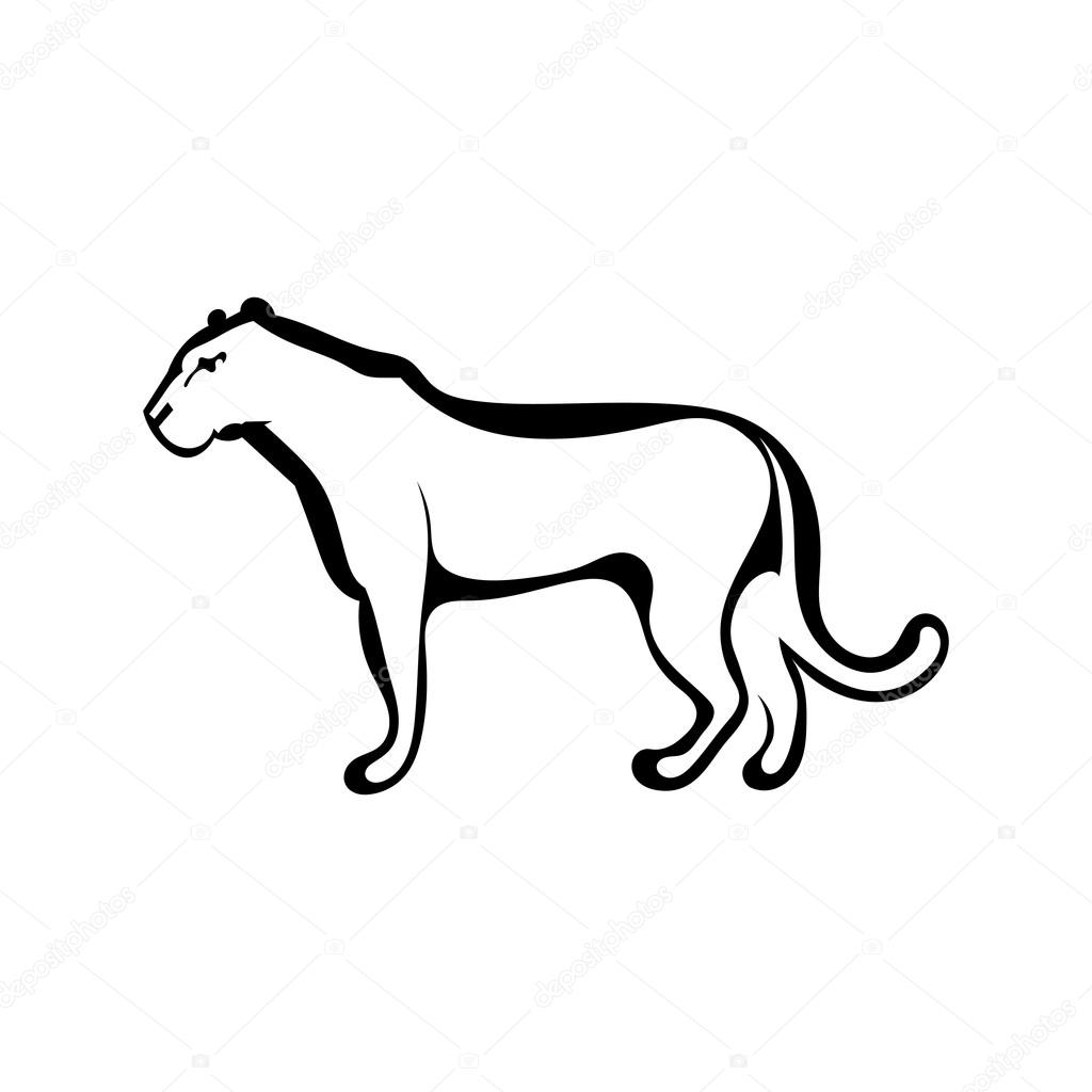Sketch silhouette profile of a lioness. Isolated. Vector illustr