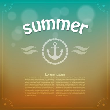 Yellow-blue background with an anchor. Summer. Retro. Vector ill