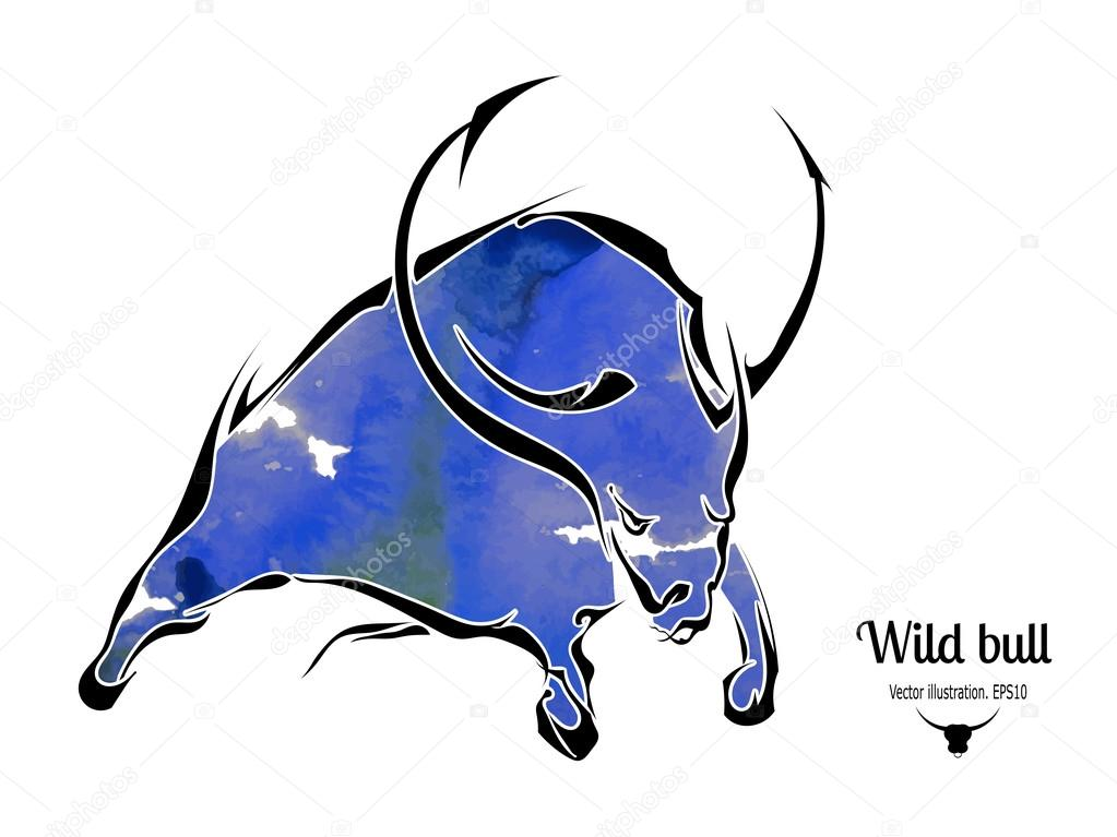 Silhouette of an aggressive bull isolated on white background. V