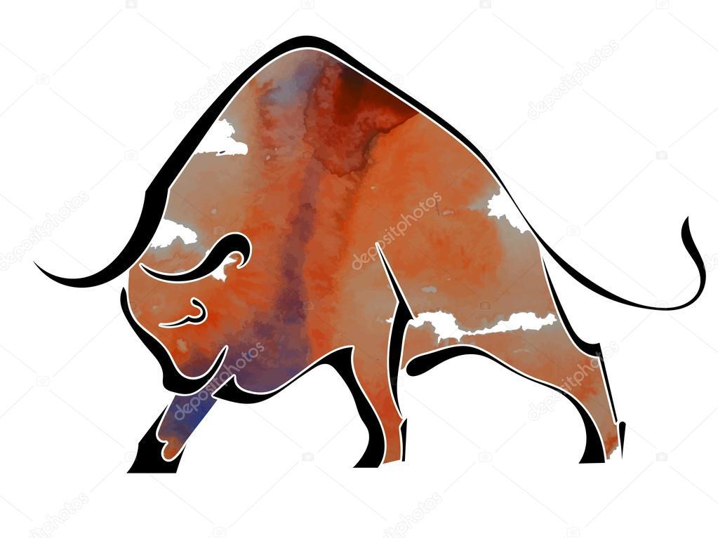 Silhouette of  bull isolated on white background. Vector illustr