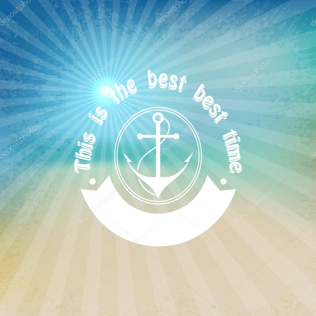 Marine background with anchor. Water Sports. Vector illustration