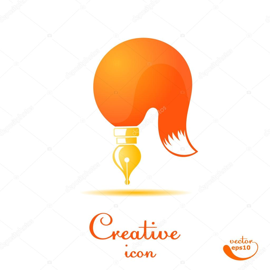 Brush and stylized fox tail isolated on white background  Scribe
