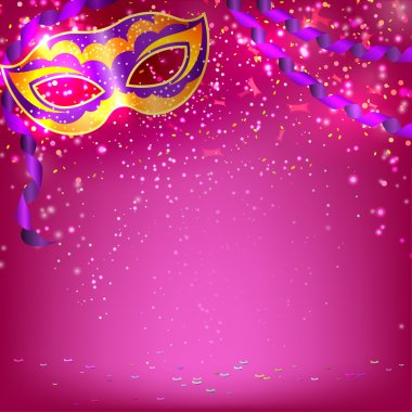 Pink banner with theatrical carnival mask. Design your theater c