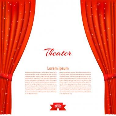 Banner with theater stage and red theater curtain. Design your t