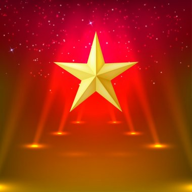 Red abstract background with rays of spotlights and gold star. V