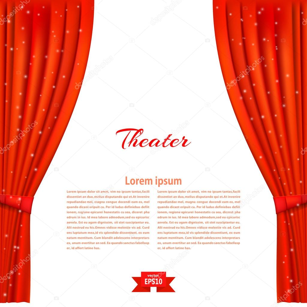 Red stage curtain with lights - Banner With Theater Stage And Red Theater Curtain Design Your T Stock Illustration