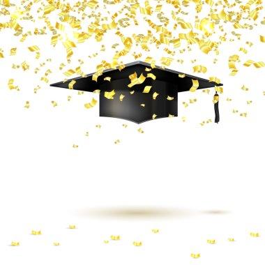 Graduate cap and golden confetti on a white background. Vector i