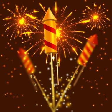 Bright festival crackers on fireworks background. Vector illustr