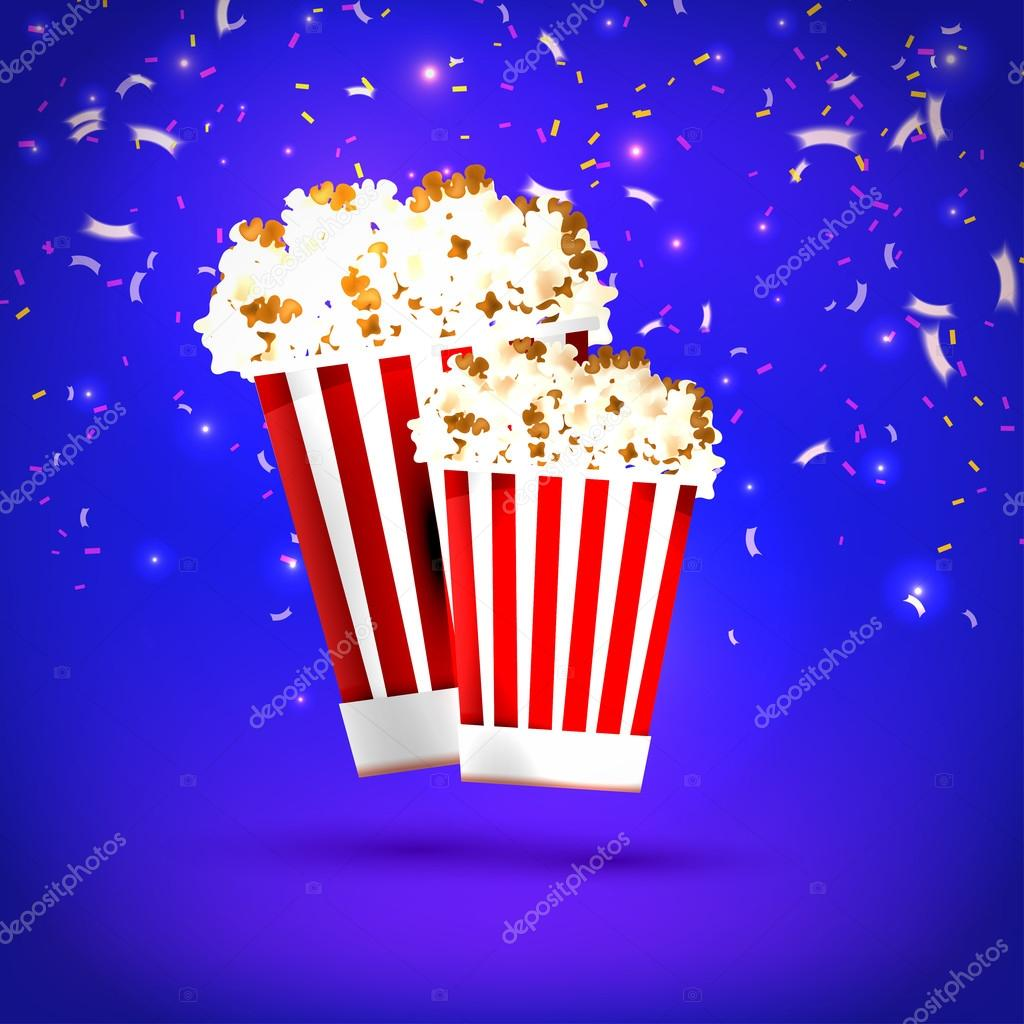 Banner large and small  popcorn on blue background. Food, popcor