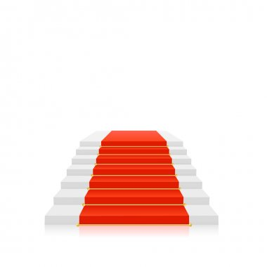 Red carpet on white stairs with gold holders. Vector illustratio