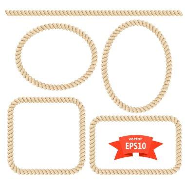 Set rope frame. Design elements. Vector illustration