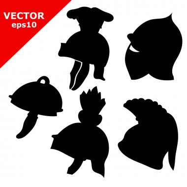 Set of black antique military helmets. Vector illustration