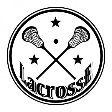 Icon with crossed lacrosse sticks and stars. Vector illustratio