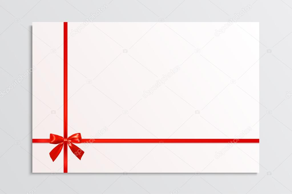white blank card with a red bow and ribbons design