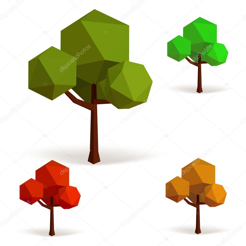 Set of trees in low poly style. Vector illustration