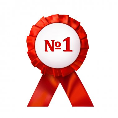 Red badge number 1 on an white background. Vector illustration