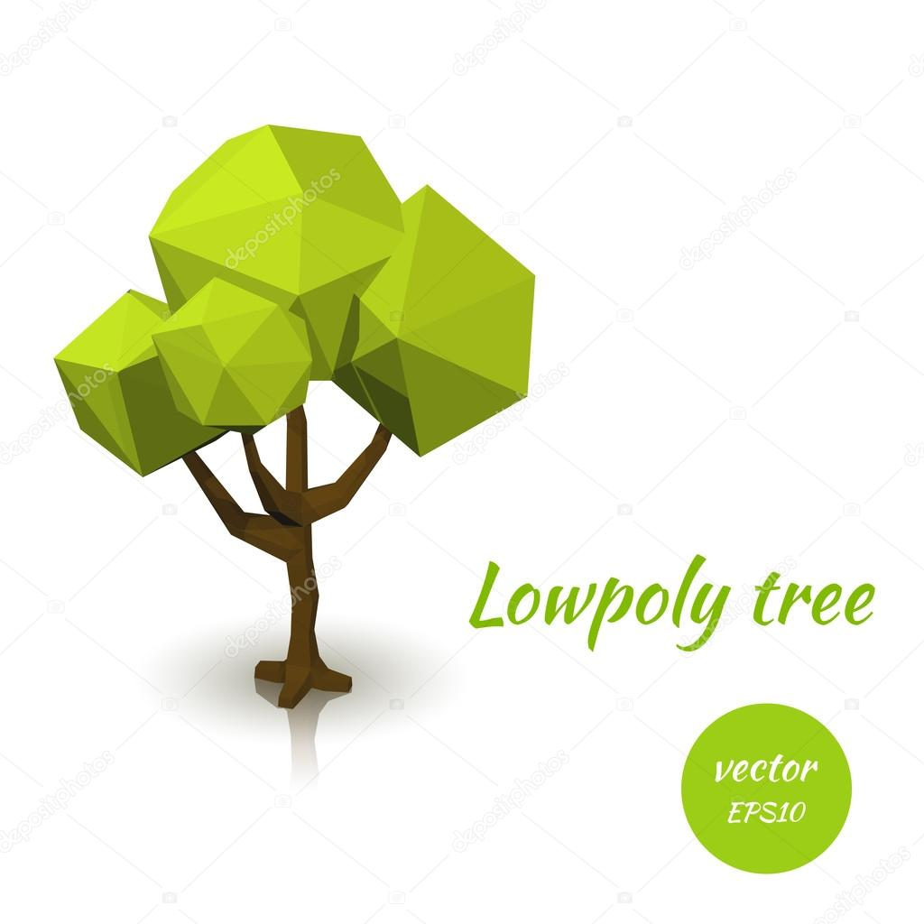 Green tree in low poly style. Vector illustration
