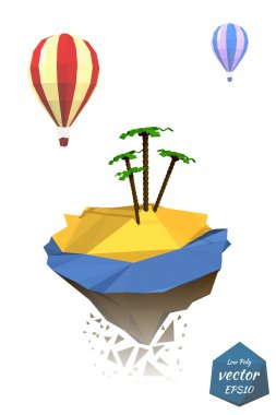 Exotic Icons: the island with the sea and plamami, balloons isol