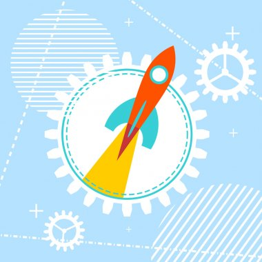Blue technology background with a rocket at the start. Design yo