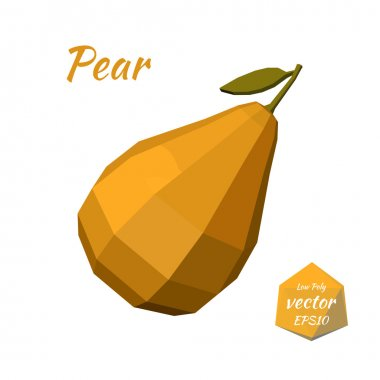 Pear isolated on a white background. Low poly style. Vector illu