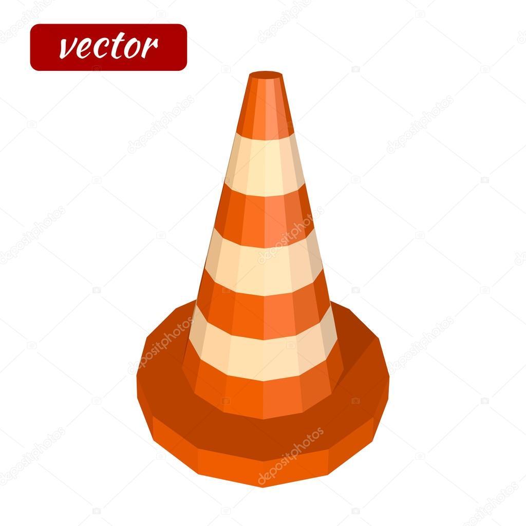 Ícone do cone de trânsito vermelho isolado no fundo branco Ícone