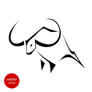 Silhouette of a bull with huge horns isolated on white backgroun