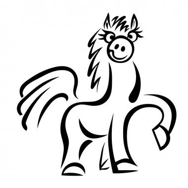 Cartoon horse jumping isolated on a white background. Vector illustration. stock vector