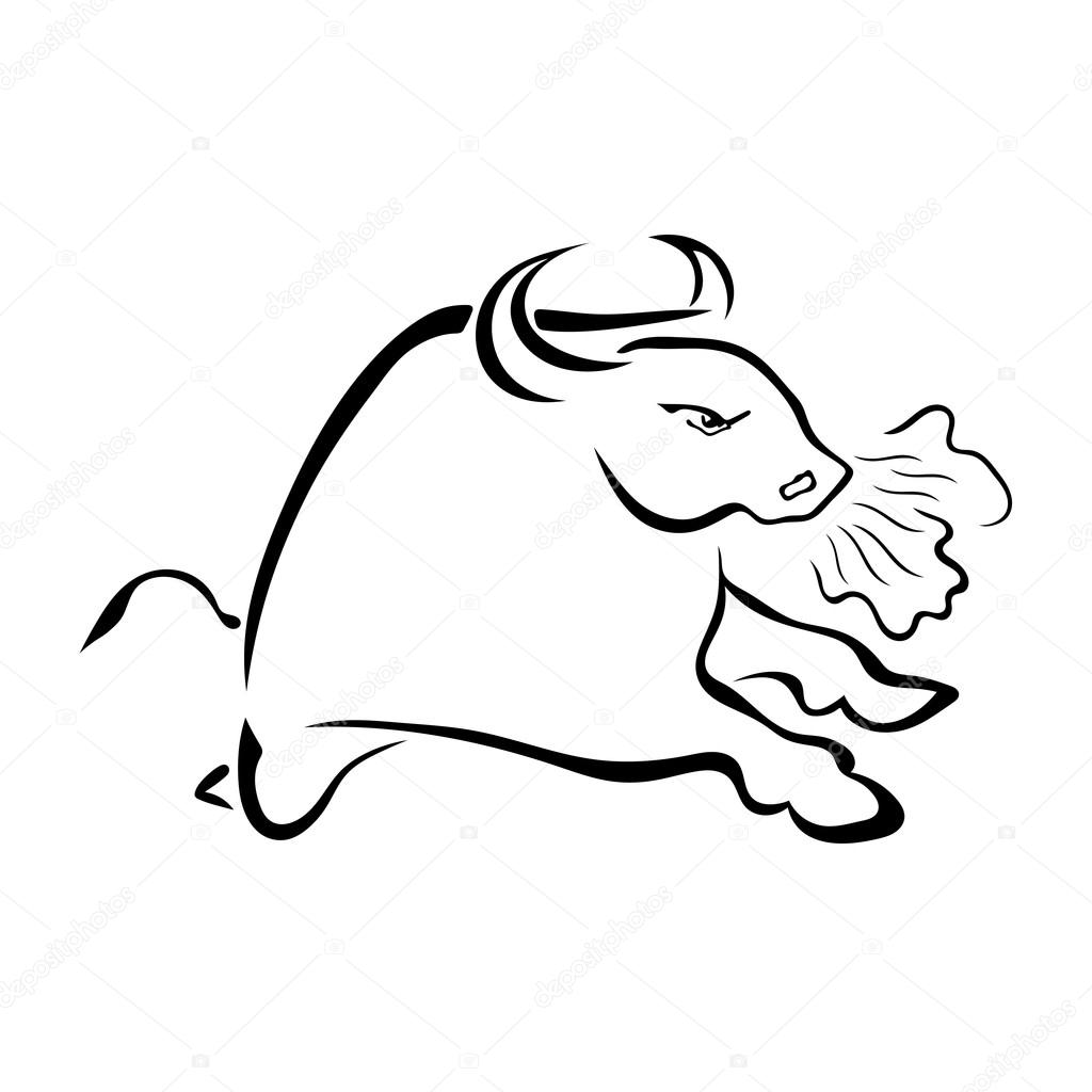 Angry bull with the steam from his nostrils isolated on white ba
