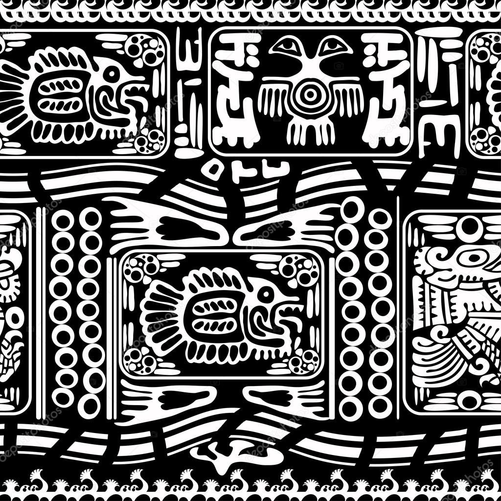 Black and white seamless pattern with Fish and Birds. Vector ill