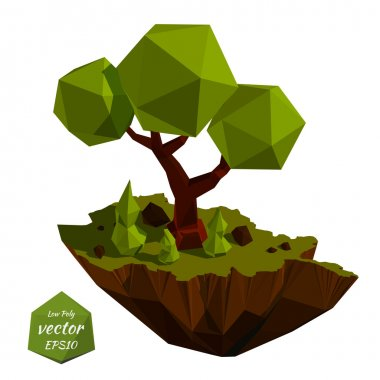 Vector island with trees in the low poly style. Vector illustrat