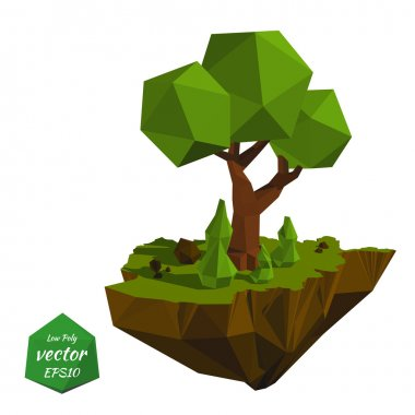 Abstract island with trees in the low poly style. Vector illustr