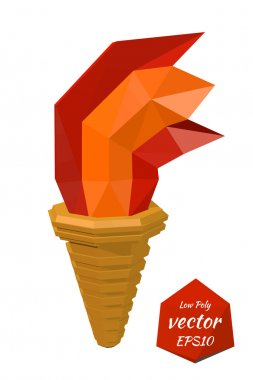 Torch on a white background. Low poly style. Vector illustration