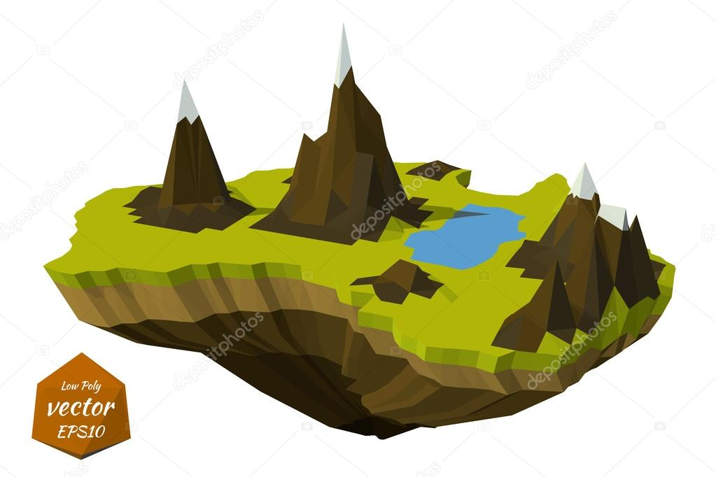 Abstract island with mountains in the low poly style. Vector ill