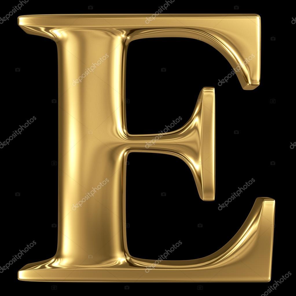 Golden 3D Symbol Capital Letter E Stock Photo Smaglov