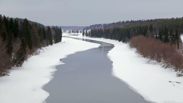 Zimní krajina, řeka