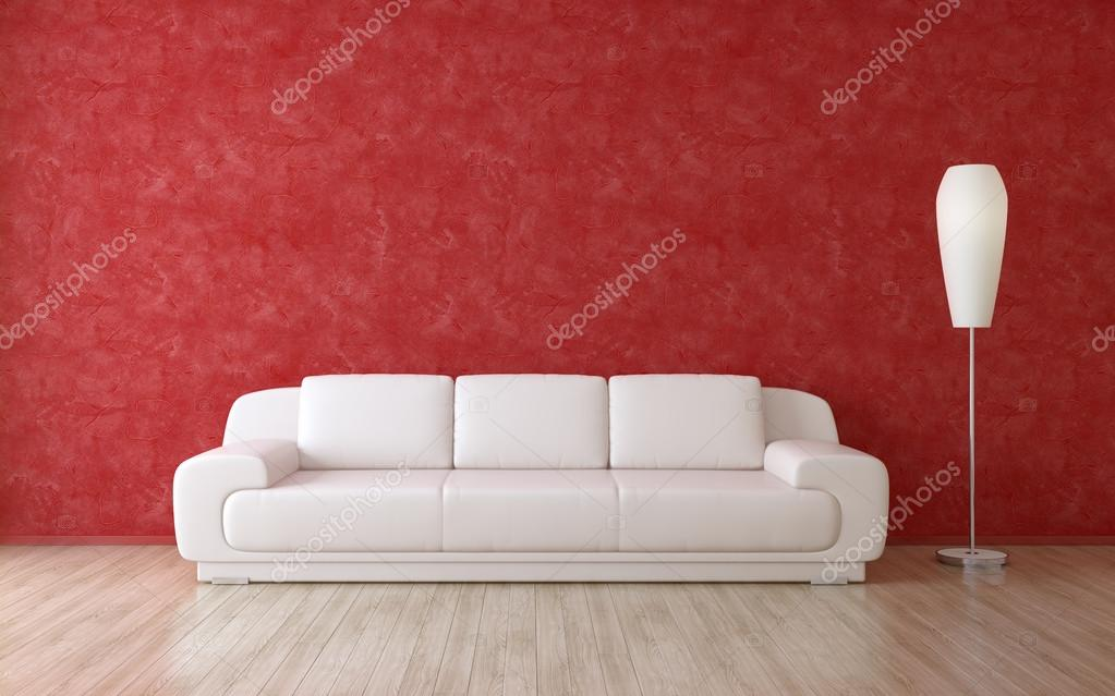White Sofa In A Interior Room With Red Stucco Wall U2014 Stock Photo #100680442