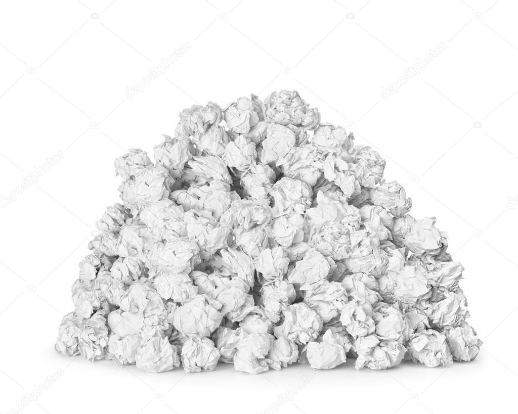a very large pile of crumpled paper ball isolated on white backg