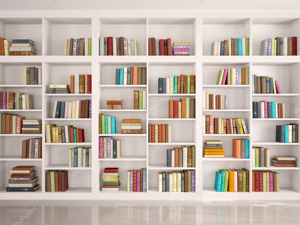 Ilustracin 3D de estanteras blancas con varios libros de colores