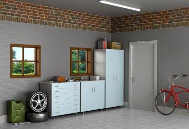 The interior suburban garage with car parts.
