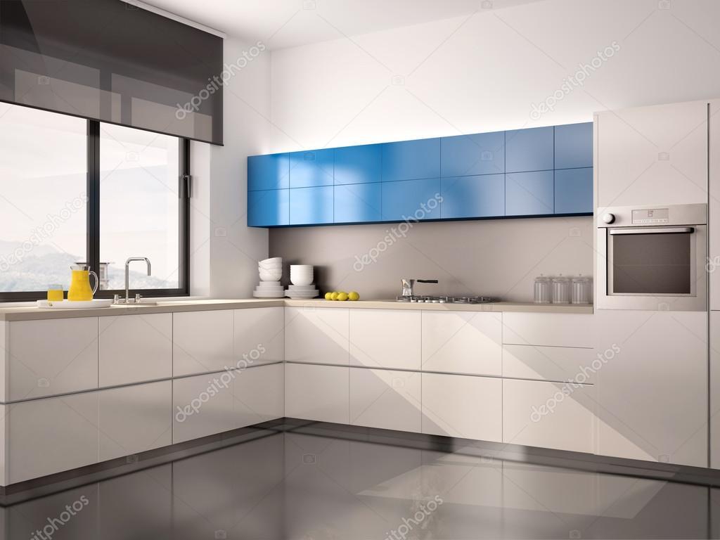 3D illustratie van interieur van moderne keuken wit blauw grijs ...
