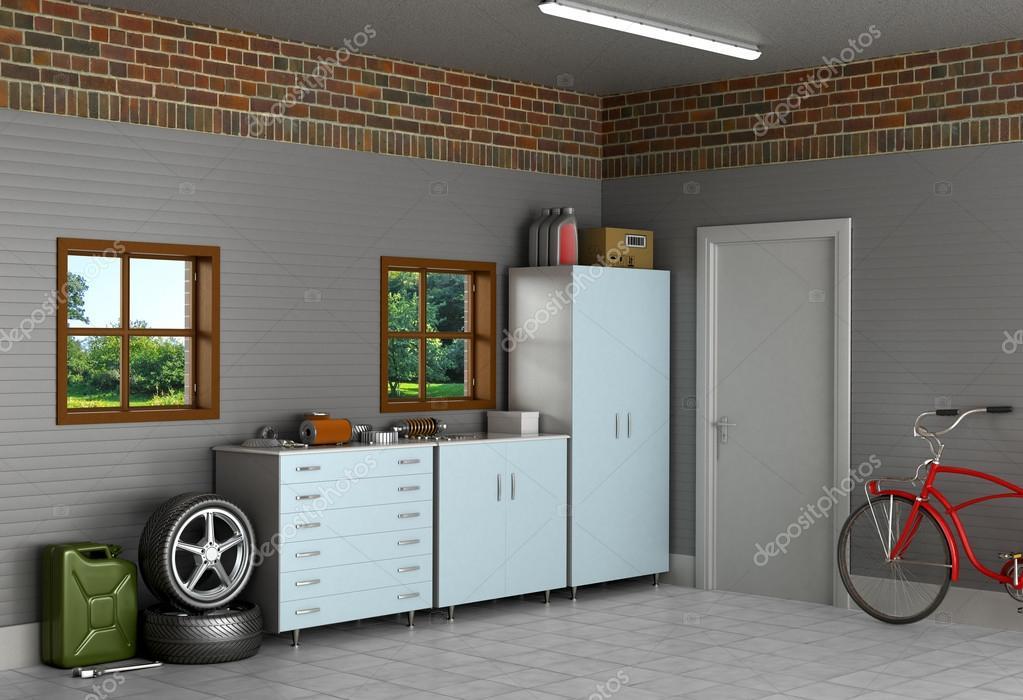 De interieur suburban garage met auto-onderdelen — Stockfoto ...