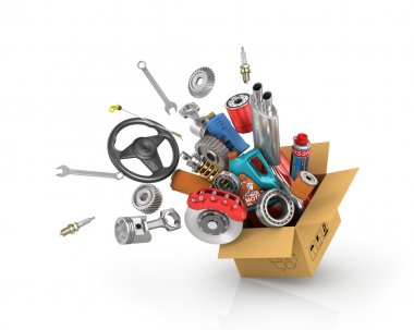 Auto parts in the card box. Automotive basket shop. Auto parts s