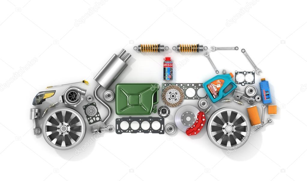 Autoteile in Form von Auto. Zur Verwendung in der Werbung für ...