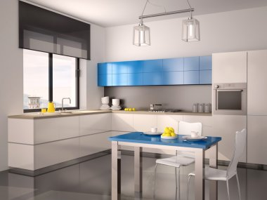 3d illustration of interior of modern kitchen in white blue gray