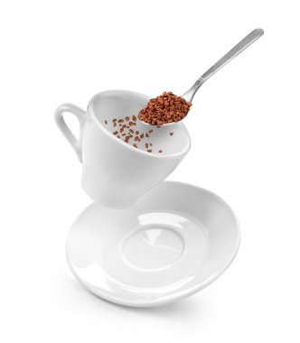 Preparation of instant coffee on a white
