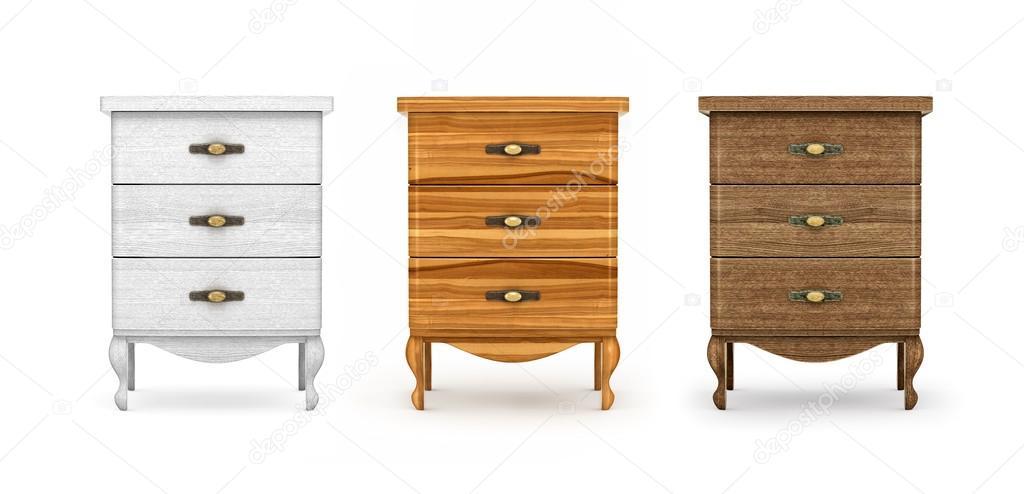 mesitas de noche, una colección de muebles de madera en blanco ...