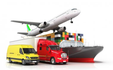 3d render of different modes of transport in one direction seeki