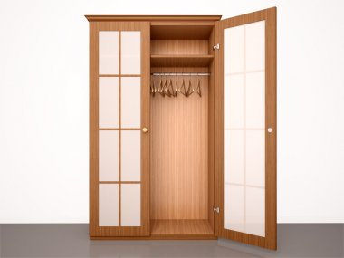 3d illustration of The empty half-open wooden wardrobe with hang