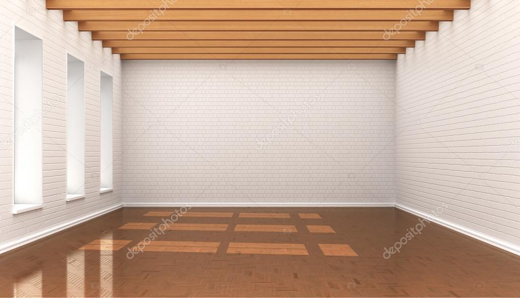 Soffitti In Legno Bianco : Stanza vuota bianco muro di mattoni blocchi soffitto con baloe in
